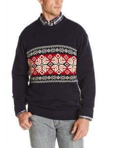 Dockers Men's Chest Snowflake Crew Sweater