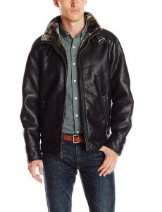 Calvin Klein Men's Pebble Faux-Leather Moto Jacket with Faux-Shearling