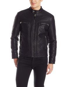 Calvin Klein Men's Bubble Faux Leather Moto Jacket