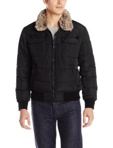 Calvin Klein Men's Bomber Jacket with Removable Faux-Fur Collar Trim