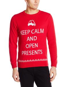 Alex Stevens Men's Keep Calm and Open Presents Ugly Christmas Sweater