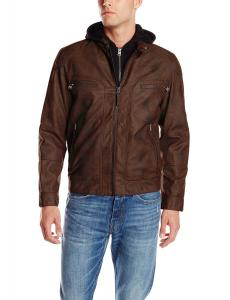 Calvin Klein Men's Faux-Leather Moto Jacket with Hoodie