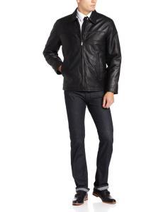 Perry Ellis Men's Lambskin Leather Open-Bottom Jacket