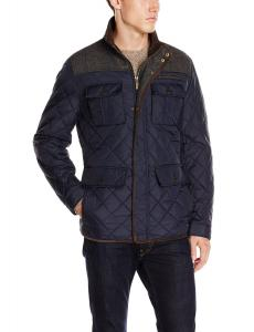 Vince Camuto Men's Quilted Jacket with Plaid Yoke