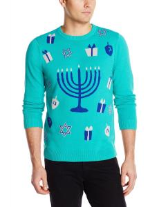 Alex Stevens Men's Festive Menorah Ugly Holiday Sweater