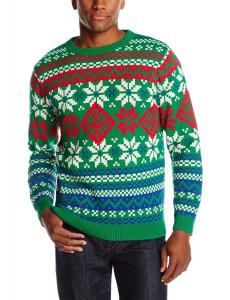 Alex Stevens Men's Bright and Bold Fairisle Ugly Christmas Sweater, Green Combo, Small