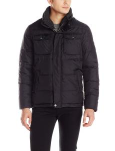 Calvin Klein Men's Quilted Puffer Jacket with Removable Knit Collar