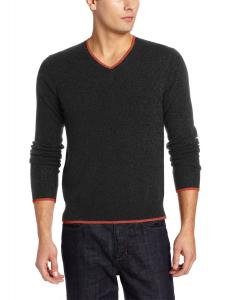 Williams Cashmere Men's Contrast Trim V-Neck Sweater