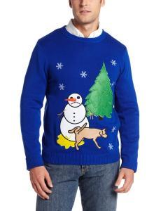 Alex Stevens Men's Sad Snowman, Electric Blue, Large