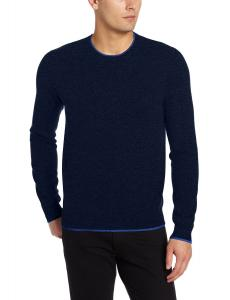Williams Cashmere Men's Crew-Neck Sweater with Contrast Tipping