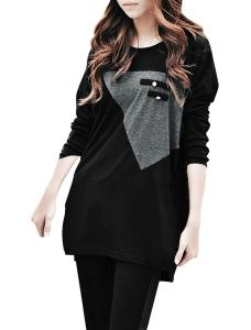 Allegra K Ladies Long Sleeve T Shirts Patchwork Tops Loose Long T Shirts