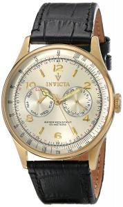 Invicta Men's 6750SYB Vintage Analog Display Swiss Quartz Black Watch