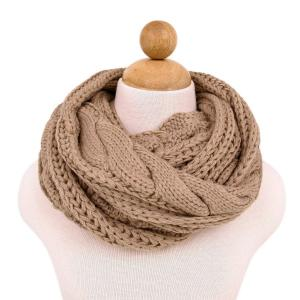 Premium Winter Twist Knit Warm Infinity Circle Scarf - Diff Colors Avail