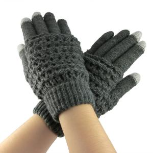 Bao Xin Wool Knitted Glove Special Designed for Touch Screen Cell Phone / Tablet /Mp5 etc ,Soft and Cold Proof (Gray)