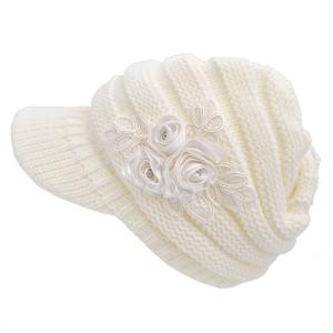 Women's Cable Knit Visor Hat with Flower Accent White Color