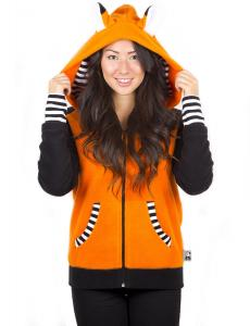Orange Fox Hoodie with Striped Cuff