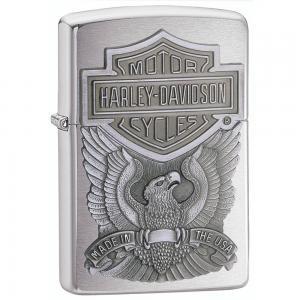 Zippo Harley-Davidson Eagle/Logo Emblem Lighter (Silver, 5 1/2 x 3 1/2 cm)