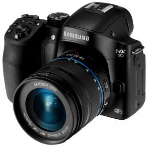 """Samsung NX30 20.3MP CMOS Smart WiFi & NFC Interchangeable Lens Digital Camera with 18-55mm Lens and 3"""" AMOLED Touch Screen and EVF (Black)"""