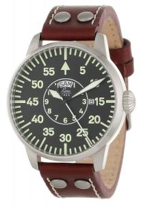 """Laco/1925 Men's 861806 """"Pilot Classic"""" Round Stainless Steel Watch with Brown Leather Strap"""