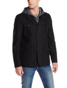 Levi's Men's Wool-Blend Four-Pocket Field Jacket with Fleece Bib and Hood