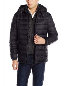 Perry Ellis Men's Cire Puffer Jacket with Detachable Hood