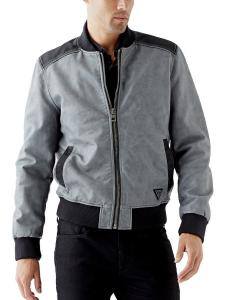 GUESS Men's Garment-Washed Faux-Leather Bomber Jacket