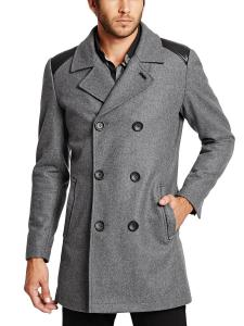 GUESS Men's Double-Breasted Wool-Blend Peacoat