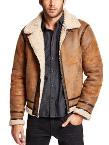 GUESS Men's Railroad Faux-Shearling Jacket