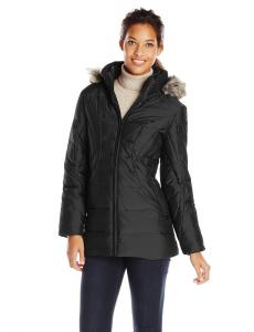 Anne Klein Women's Front-Zip Down Coat with Detachable Faux-Fur Trim Hood