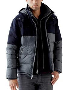 GUESS Men's Nylon and Wool Mixed Puffer Jacket
