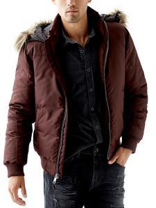 GUESS Men's Long-Sleeve Faux-Fur Hooded Puffer Jacket