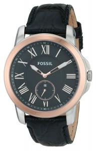 Fossil Men's FS4943 Grant Slim Three-Hand Leather Watch - Black Croco