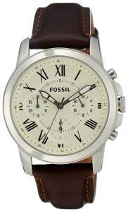 Fossil Men's FS4839 Grant Chronograph Leather Watch - Brown