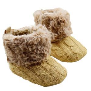 Wenseny - Baby Girls Knit Soft Fur Winter Warm Snow Boots Crib Shoes