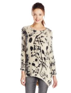 Angie Juniors Splatter Print Long Sleeve Fuzzy Tunic