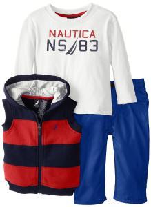 Bộ quần áo cho bé Nautica Baby-Boys Infant 3 Pack Fleece Vest Set