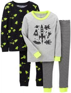 Bộ quần áo cho bé Carter's Baby Boys' 4 Piece Print PJ Set (Baby) - Space