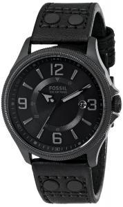 Đồng hồ Fossil Men's FS4980 Recruiter Three-Hand Date Leather Watch - Black