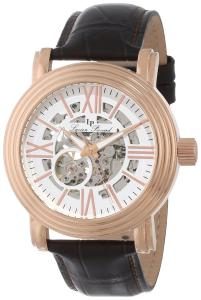 Đồng hồ Lucien Piccard Men's LP-11912-RG-02S White Skeleton Dial Brown Leather Automatic Watch