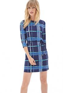 Váy Windowpane Print Shift Dress