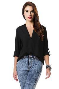 Áo sơ mi Amoin Women's Spicy Girl Solid V-neck Loose Chiffon Shirt Blouse