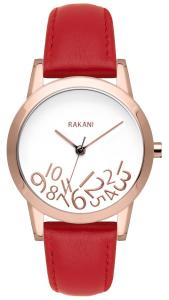 Đồng hồ nữ Rakani What Time? 32mm Rose Gold on White Watch with Red Leather Band