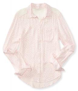 Áo sơ mi Aeropostale Women's Long Sleeve Tulip Lace Yoke Woven Shirt