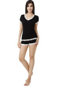 Bộ đồ ngủ Luxury Lane Sweet Sleep Lace Trim Shirt and Shorts 2-Piece Set