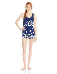 Bộ mặc nhà Hello Kitty Women's Navy Kitty Print Short Pajama Set