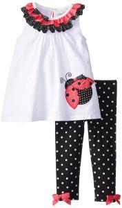 Bộ váy cho bé Rare Editions Baby Baby-Girls Newborn Ladybug Applique Legging Set