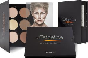 Phấn Aesthetica Cosmetics Contour and Highlighting Powder Foundation Palette / Contouring Makeup Kit; Easy-to-Follow, Step-by-Step Instructions Included