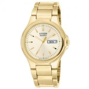 Đồng hồ Citizen Quartz Date Day Gold Tone Mens Watch