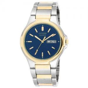 Đồng hồ Citizen Quartz Day Date Bracelet Blue Dial Men's Watch - BK3564-52L