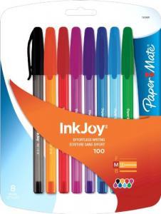 Bút Paper Mate InkJoy 100 Stick Medium Point Advanced Ink Pens, 8 Colored Ink Pens